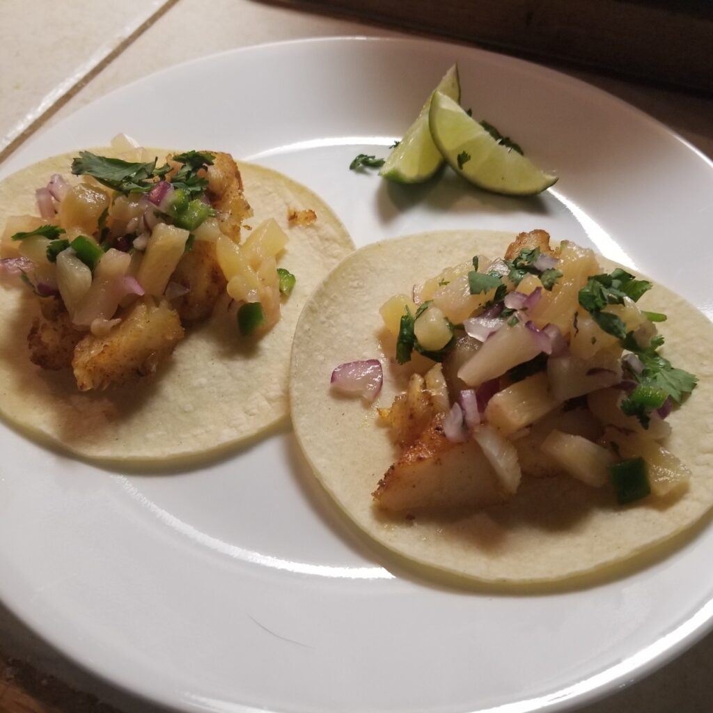 Fish Tacos with Pineapple Slaw