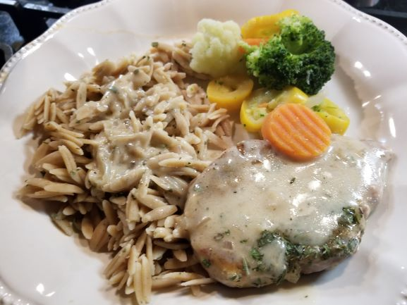 Chicken Breasts in Cream Sauce with Whole Wheat Orzo