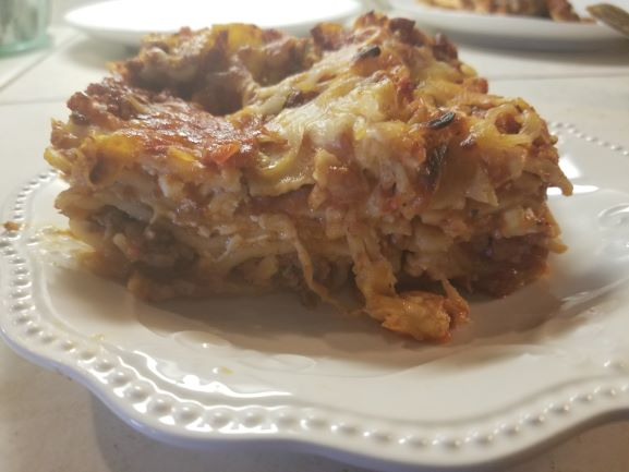 Turkey Sausage Lasagna plated and ready to serve