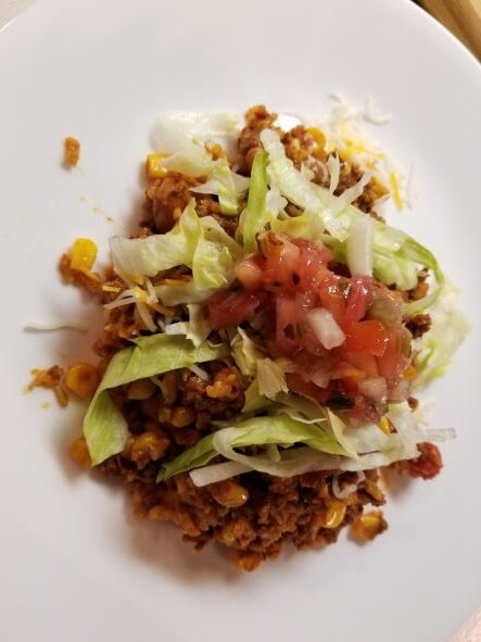 Mexican Skillet Dinner with Homemade Chorizo plated